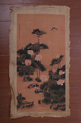 Large Fine Old Chinese Hand Painting Lotus Birds Marked ShenQuan PD064