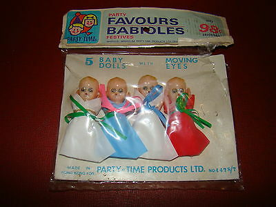 Vintage Party-Time 4 Plastic Baby Dolls W Moving Eyes Hong Kong In Pkg