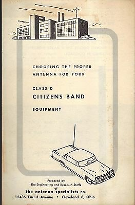 1961 Citizens Band Radio Attenna Sizing Coverage Booklet