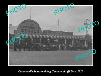 OLD LARGE HISTORIC PHOTO OF CUNNAMULLA QLD, VIEW OF THE GENERAL STORE c1920