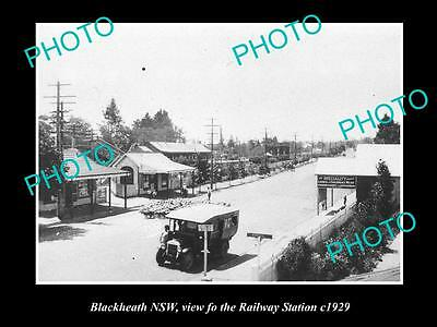 OLD LARGE HISTORICAL PHOTO OF BLACKHEATH NSW, VIEW OF THE RAILWAY STATION c1929