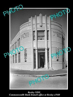 OLD LARGE HISTORIC PHOTO OF BEXLEY NSW, THE COMMONWEALTH BANK BUILDING c1940