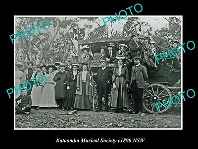 OLD LARGE HISTORIC PHOTO OF KATOOMBA NSW, THE MUSICAL SOCIETY PICNIC c1890