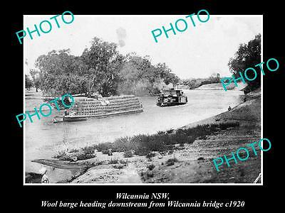 OLD LARGE HISTORICAL PHOTO OF WILCANNIA NSW, WOOL BARGE GOING DOWN RIVER c1920
