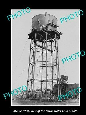 OLD LARGE HISTORIC PHOTO OF MOREE NSW, VIEW OF THE TOWN WATER TANK c1900