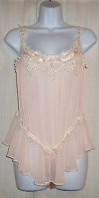 Vtg Pale Pink Flora Nikrooz Pleated Chiffon and Satin Skirted Teddy Romper S