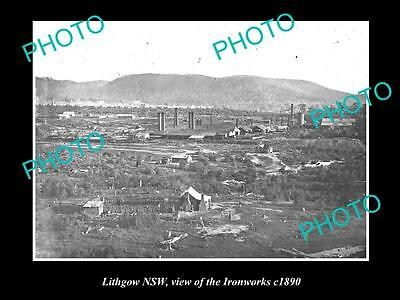 OLD LARGE HISTORIC PHOTO OF LITHGOW NSW, VIEW OF THE IRONWORKS c1890