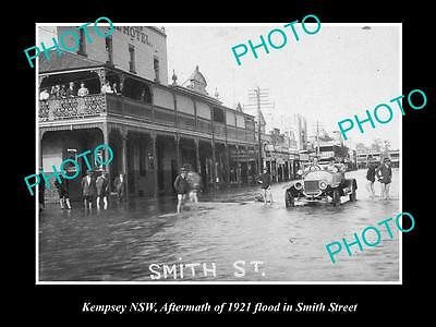 Old Large Historical Photo Of Kempsey Nsw, View Of The 1921 Floods, Smith Street