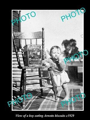 OLD LARGE HISTORICAL PHOTO OF BABY BOY EATING ARNOTTS BISCUITS c1920