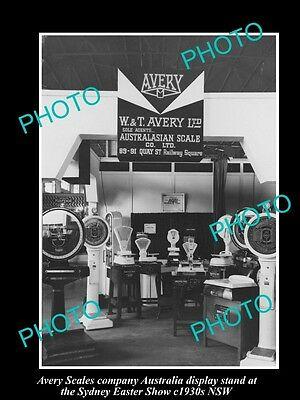 OLD LARGE HISTORIC PHOTO OF AVERY SCALES Co SHOW STAND, SYDNEY NSW c1930s