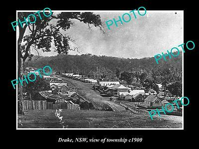 OLD LARGE HISTORICAL PHOTO OF DRAKE NSW, VIEW OF THE TOWNSHIP c1900
