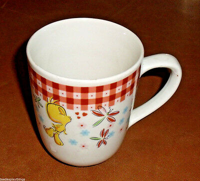 Tweety Bird Mug Cup Gibson Looney Tunes Vtg Red Plaid 3.75""