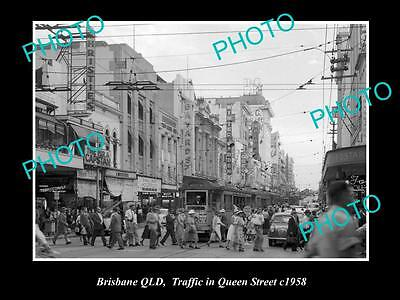 OLD LARGE HISTORIC PHOTO OF BRISBANE QLD, QUEEN STREET IN THE CITY c1958