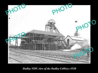 OLD LARGE HISTORIC PHOTO OF DUDLEY NSW, THE COAL MINING COLLIERY c1920