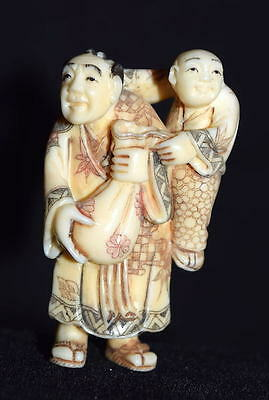 Authentic Highly Carved Antique Japanese Netsuke Of Man & Child With Money Sack