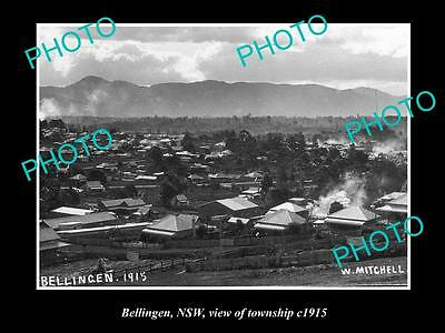 OLD LARGE HISTORICAL PHOTO OF BELLINGEN NSW, VIEW OF THE TOWNSHIP c1915