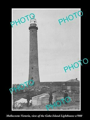 OLD LARGE HISTORIC PHOTO OF MALLACOOTA VICTORIA, THE GABO Is LIGHTHOUSE c1900