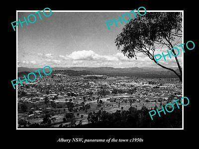 OLD LARGE HISTORICAL PHOTO OF ALBURY NSW, PANORAMA OF THE TOWNSHIP c1950s