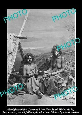OLD HISTORICAL ABORIGINAL PHOTO OF WOMEN WITH CHILDREN, CLARENCE RIVER NSW c1870