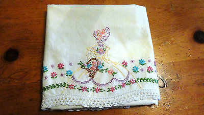 Lovely Vintage Hand Embroidered & Crocheted Lace Pillow Case (4074)