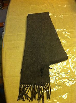 Yves Saint Laurent 100% Wool Gray Scarf Made In Italy Ysl Pre-Owned