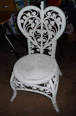Vintage Cane Wicker Heart Peacock Chair Retro Collectable