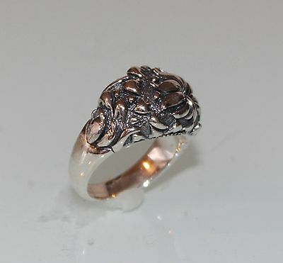 EUC Jean Lin Heavy Sterling Silver Ring  Asian Flower  Floral QVC 7