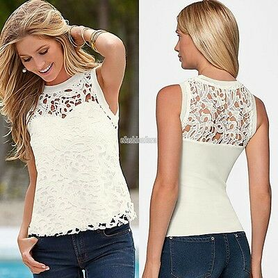 New Fashion Women Summer Vest Top Sleeveless Blouse Casual Tank Top T-Shirt Lace