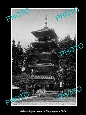OLD LARGE HISTORIC PHOTO OF NIKKO JAPAN, VIEW OF THE PAGODA c1920