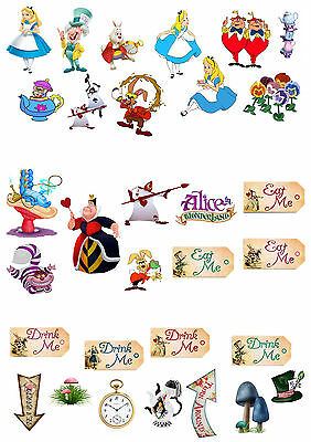 31 Standup Alice In Wonderland Mad Hatters Party Edible Wafer Paper Cake Toppers
