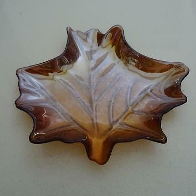 Beautiful American Carnival Glass Hand Made Amber Maple Leaf Dish
