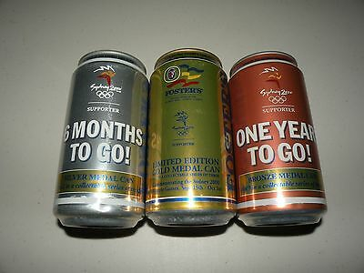 Fosters Lager Gold Silver Bronze Olympic Set Empty Beer Cans