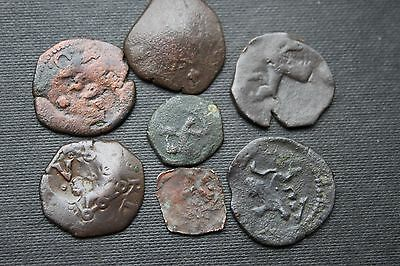 7 SPAINISH COLONIAL COINS 16/17th Century COBS SPAINISH PIRATE COINS