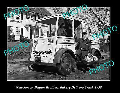 OLD LARGE HISTORIC PHOTO OF NEW JERSEY, DUGAN BROS BAKERY DELIVERY TRUCK c1938