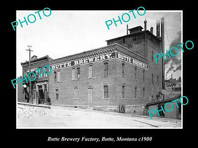 OLD LARGE HISTORIC PHOTO OF THE BUTTE BREWERY FACTORY, BUTTE MONTANA c1900