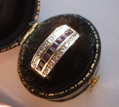 9ct gold ring amethyst and diamond size o