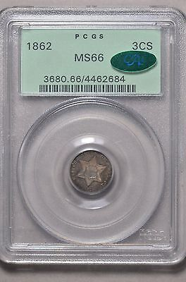 1862 3 CENT SILVER PCGS MS66 CAC OGH (517t)