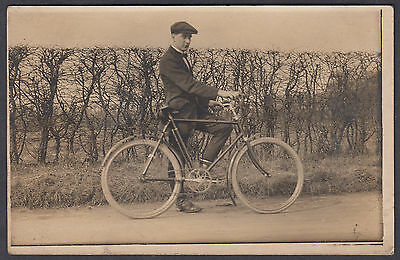 Man and Bicycle Lovely Real Photo Vintage Postcard