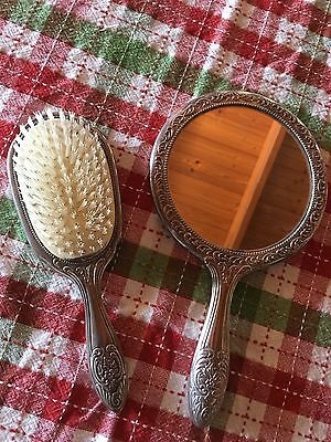 Vintage Silver Plated - Heavy - Mirror & Brush Set