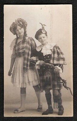 Young Girl & Boy In Scottish National Dress Photo Postcard