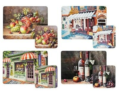 8 Piece Fruit Wine Shop Mixed Kitchen Dining Room Table Placemat and Coaster Set