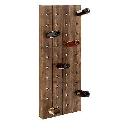 Brown 40-Bottle Wall-Mount Wine Rack Home Dining Decor Bar Kitchen Accessories