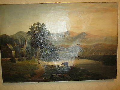 An old oil on canvas - landscape - signed and dated