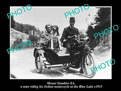 Old Large Historic Photo Of Mount Gambier, Man Riding His Indian Motorcycle 1915