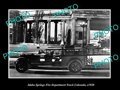 OLD LARGE HISTORIC PHOTO OF IDAHO SPRINGS COLORADO, THE TOWN FIRE TRUCK c1920