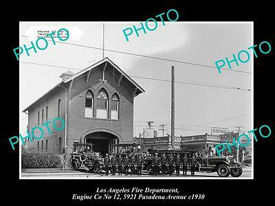 OLD LARGE HISTORIC PHOTO OF LOS ANGELES FIRE DEPARTMENT, ENGINE 12 STATION c1930