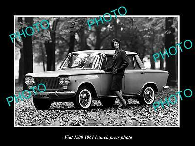Old Large Historic Photo Of 1961 Fiat 1300 Car Launch Press Photo 1