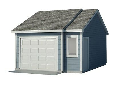 Car Garage Plans DIY Backyard Workshop Shed Building 16' x 22' Build Your Own