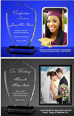 Photo Certificate on glass trophy background. Special Occasions