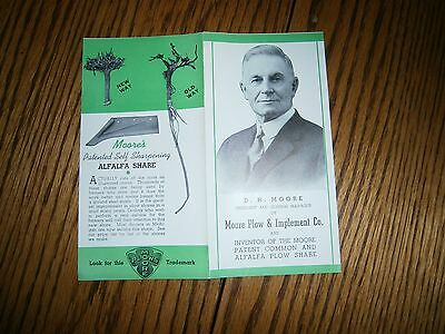 Vintage Brochure D H Moore Moore Plow & Implement Co. Greenville Michigan